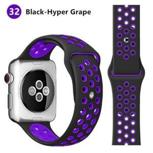 NEW[BAND] Purple-BK Sport Silicone For Apple Watch
